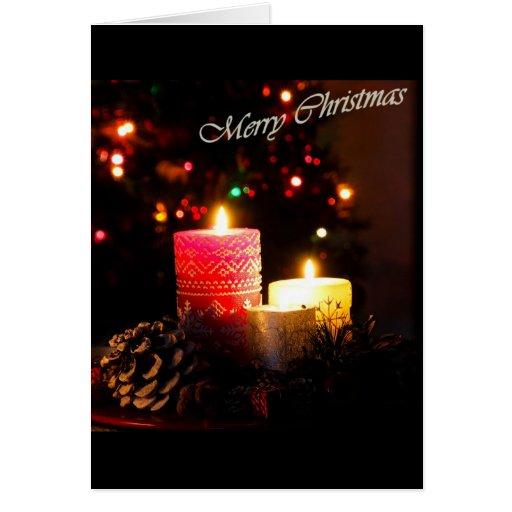 Velas de la Feliz Año Nuevo de la Feliz Navidad Tarjeton