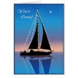 Velas de la puesta del sol con las luces del día tarjeta de felicitación