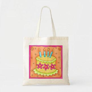 Velas de la torta del feliz cumpleaños del amarill bolsa tela barata