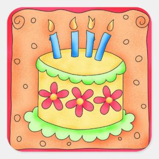 Velas de la torta del feliz cumpleaños del colcomania cuadrada