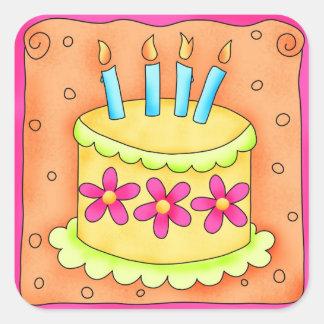 Velas de la torta del feliz cumpleaños del pegatina cuadrada