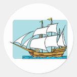 Velas de Mayflower a Plymouth Pegatina Redonda