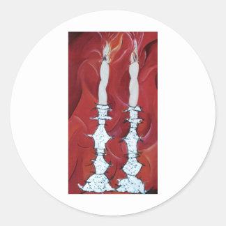 Velas de Shabbat Pegatina Redonda