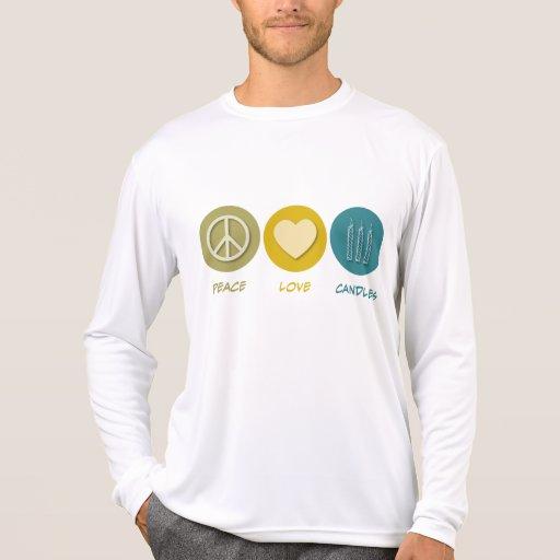 Velas del amor de la paz camiseta