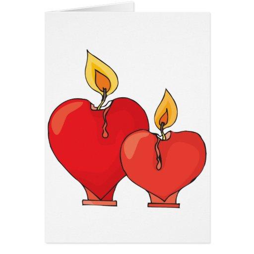 Velas del corazón tarjeta de felicitación