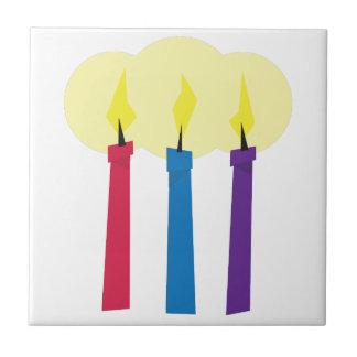 Velas del cumpleaños azulejo cuadrado pequeño