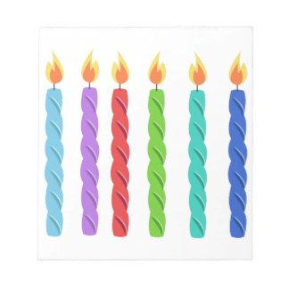 Velas del cumpleaños libreta para notas