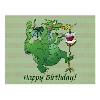 Velas del cumpleaños del dragón que soplan postales