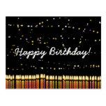 Velas del cumpleaños del feliz cumpleaños postal