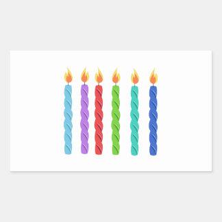 Velas del cumpleaños rectangular pegatina