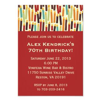 """Velas del cumpleaños - rojo invitación 5"""" x 7"""""""