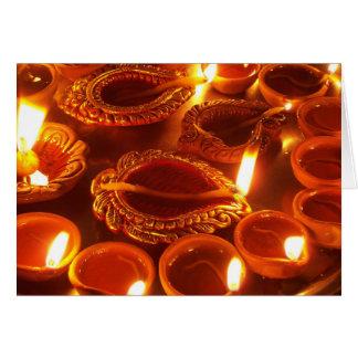 velas del diya del diwali tarjeta de felicitación