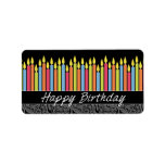Velas del feliz cumpleaños etiqueta de dirección