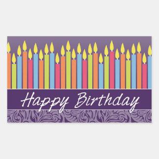 Velas del feliz cumpleaños pegatina rectangular
