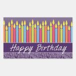 Velas del feliz cumpleaños rectangular pegatina