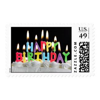 Velas del feliz cumpleaños timbres postales
