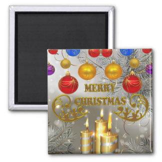 Velas del navidad del oro y de la plata y bulbos c iman de frigorífico