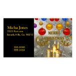 Velas del navidad del oro y de la plata y bulbos c tarjeta de visita