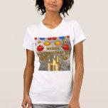 Velas del navidad del oro y de la plata y bulbos camiseta