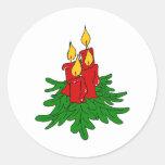 velas del navidad pegatina redonda