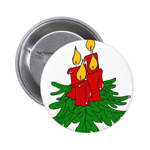 velas del navidad pin redondo de 2 pulgadas