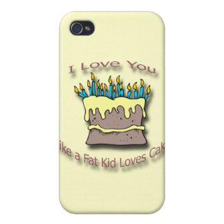 Velas gordas de la torta de los amores del niño iPhone 4 fundas