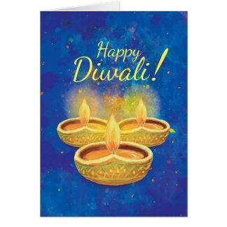 Velas illuminating felices de Diwali que saludan Tarjeta De Felicitación