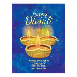Velas illuminating felices de Diwali que saludan Tarjetas Postales