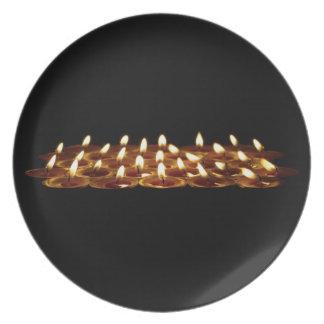 Velas negras plato de cena