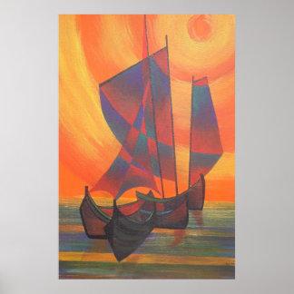 Velas rojas en la puesta del sol poster