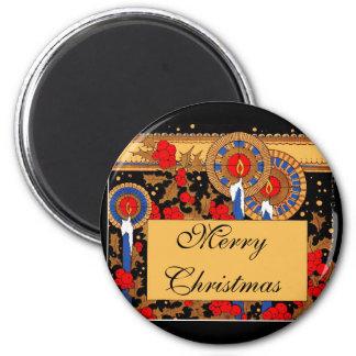 Velas y acebo del navidad del art déco imanes de nevera