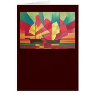 Velas y cielos del océano tarjeta de felicitación