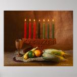 Velas y comida de Kwanzaa Poster