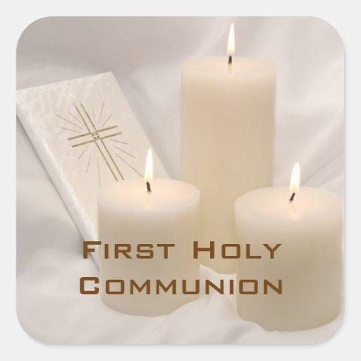 Velas y comunión santa del libro de oración calcomanías cuadradases