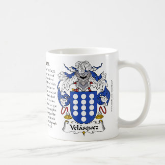 Velasquez, the Origin, the Meaning and the Crest M Coffee Mug