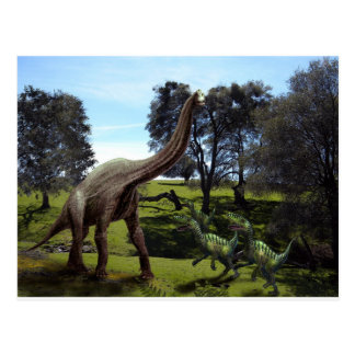 Velciraptors attacking a Brachiosaurus Postcard
