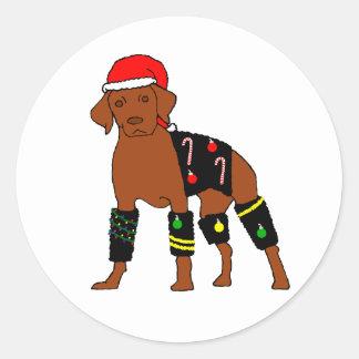 Velcro Christmas Vizsla Classic Round Sticker