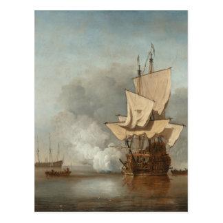 Velde del paisaje marino de la bella arte tarjetas postales