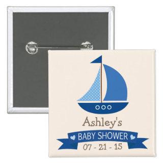 Velero azul, fiesta de bienvenida al bebé náutica pin cuadrada 5 cm