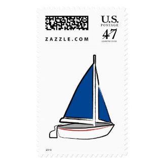 Velero azul timbres postales