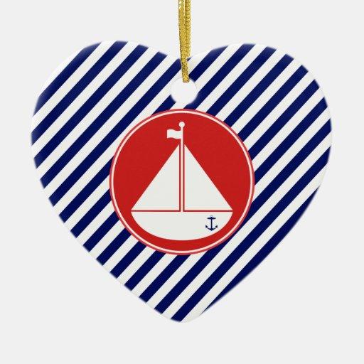 Velero azul y rojo ornaments para arbol de navidad