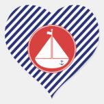 Velero azul y rojo calcomanías corazones personalizadas