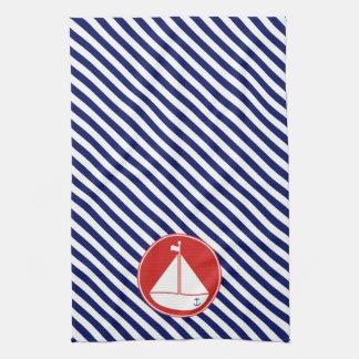 Velero azul y rojo toalla