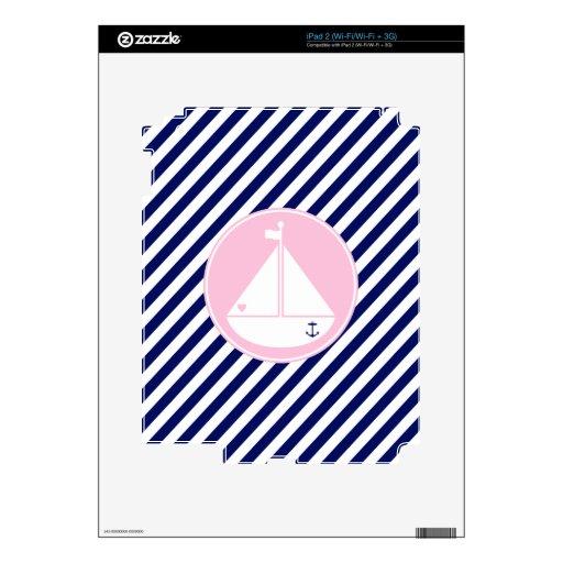 Velero azul y rosado calcomanías para iPad 2