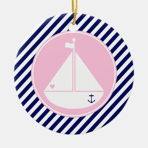 Velero azul y rosado ornamente de reyes