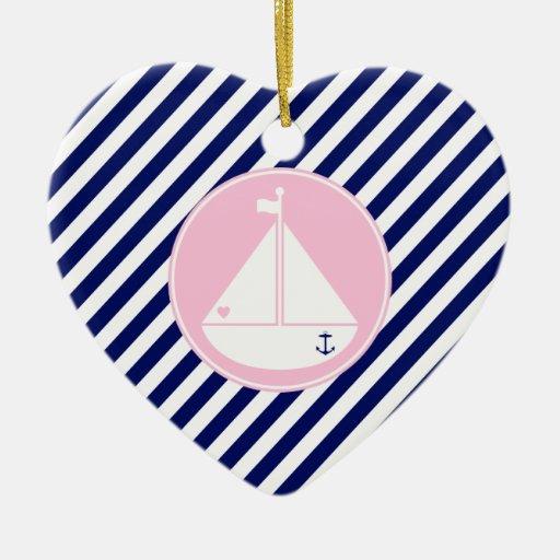 Velero azul y rosado adornos