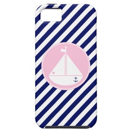 Velero azul y rosado funda para iPhone SE/5/5s