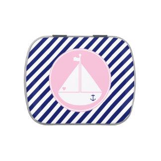Velero azul y rosado jarrones de caramelos