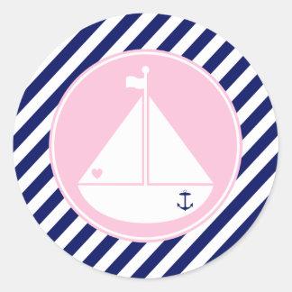 Velero azul y rosado pegatina redonda