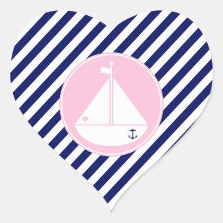 Velero azul y rosado pegatina en forma de corazón